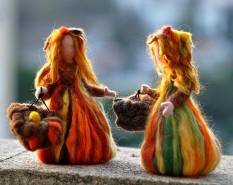 Needle Felted Doll Waldorf  Fairy Autumn .Made to custom orders