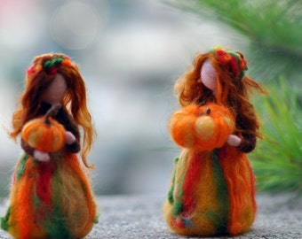 Needle Felted Doll Waldorf  Wool Fairy-Autumn-Waldorf inspired standing doll-soft sculpture -needle felt by Daria Lvovsky