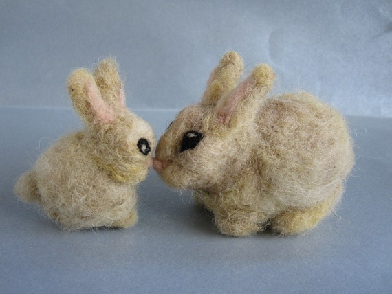 Needle Felted  Animals. Couple of bunnies. For custom orders