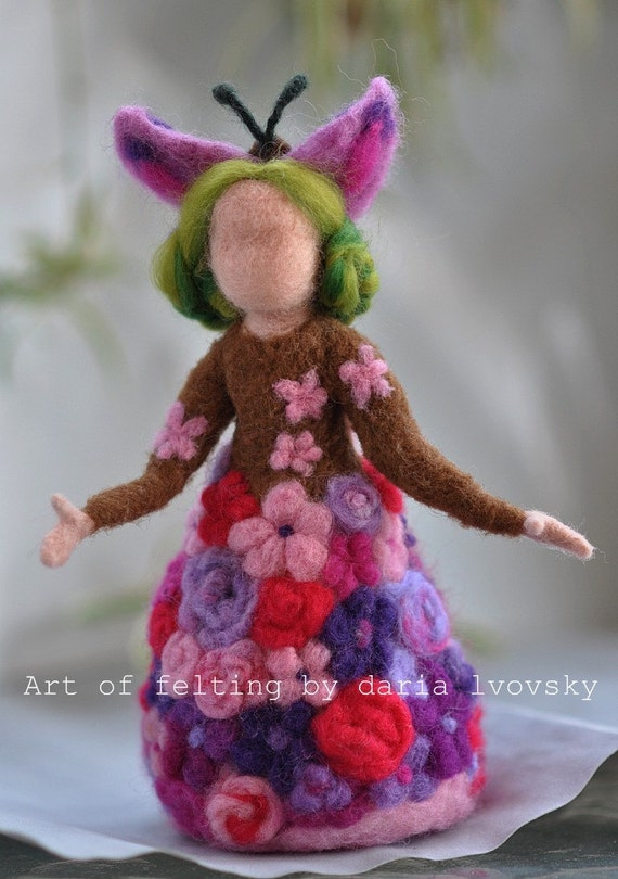 Needle felted Waldorf  Doll. Flowers Queen.Standing doll Made to custom order