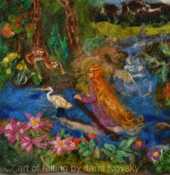 Needle felted Waldorf Wool Tapestry - The Fairy's journey-needle felt by Daria Lvovsky