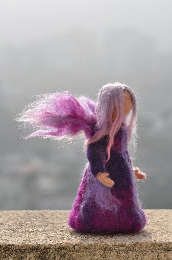 Needle Felted Waldorf Wool Fairy. Lilac fairy. Standing doll. Soft sculpture. Needle felt by Daria Lvovsky made to custom order