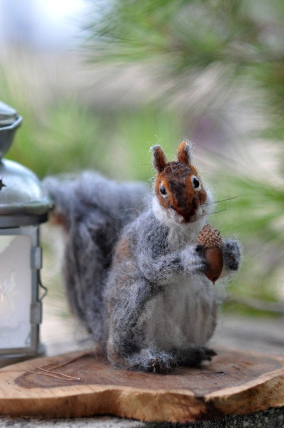 Needle Felted  Wool Animals  Needle Felt- Gray Squirrel- Soft sculpture-Collectible artist animals-needle felt by Daria Lvovsky