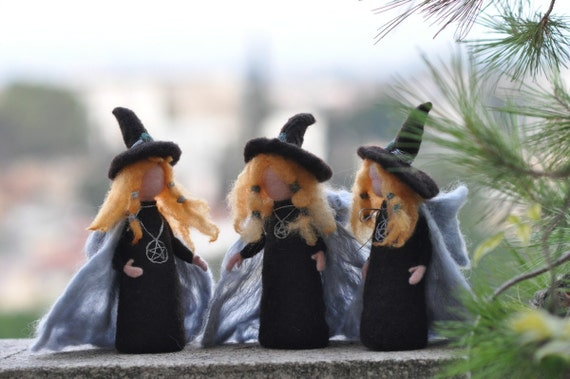 Needle Felted Doll Waldorf -Halloween Decoration--Wool Sculpture-Halloween witch art dolls-needle felt by Daria Lvovsky