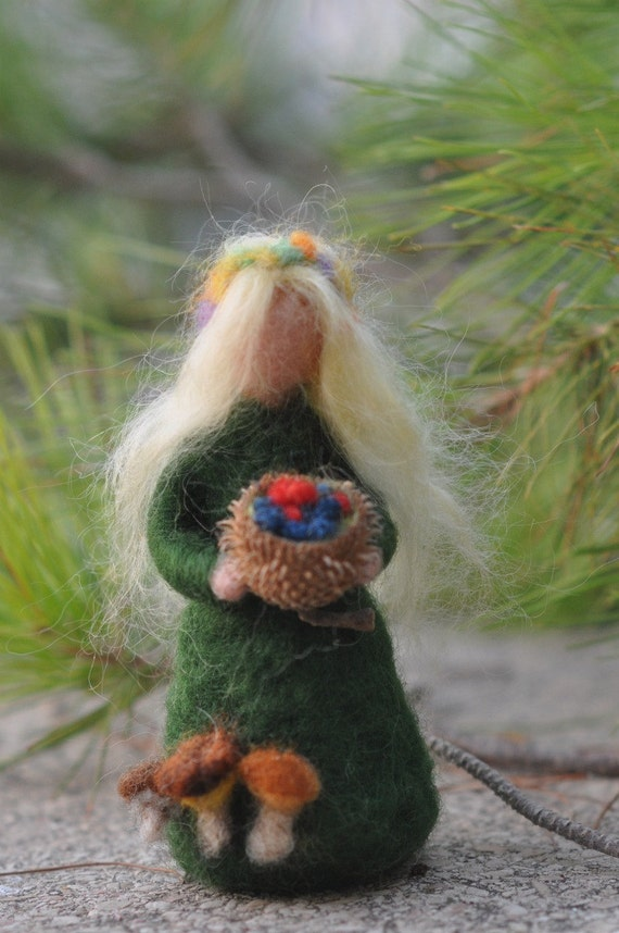 Needle Felted Waldorf  Wool Fairy-Summer-Waldorf inspired standing doll-soft sculpture -needle felt by Daria Lvovsky
