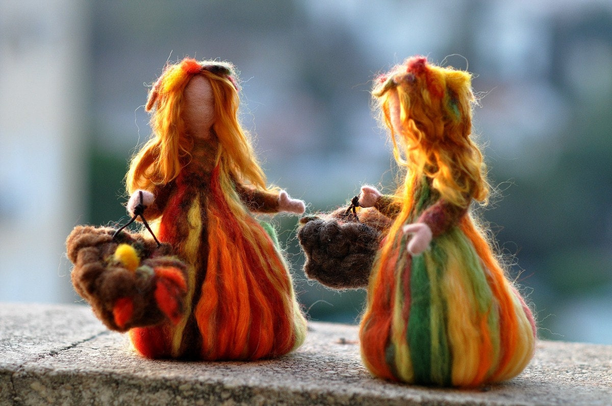 Needle Felted Doll Waldorf Fairy Autumn Made To Custom