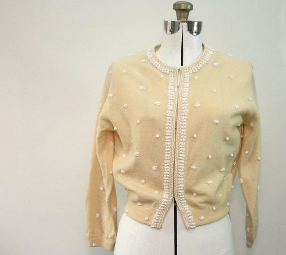 SALE! Vintage 1950's Light Yellow Beaded  Sweater Size Med