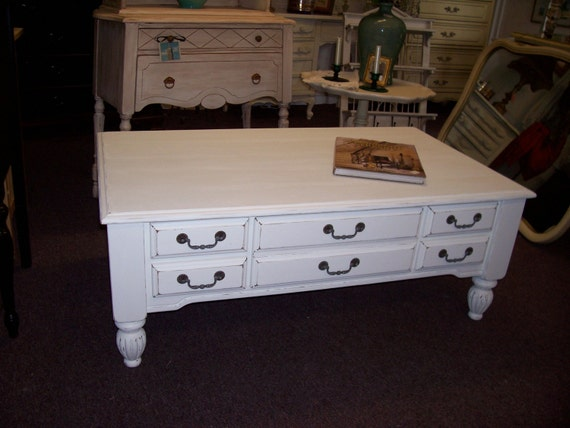 Large White Distressed Wooden Coffee Table