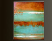 Turquoise Mine - 30 x 24- Acrylic Abstract Painting - Deep Gallery Wrapped Canvas