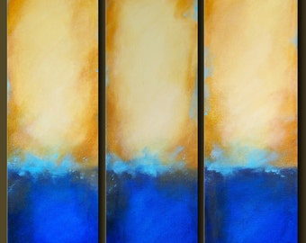 By The Sea - Set of 3 - 8 x 24- Abstract Acrylic Paintings - Contemporary Wall Art - Triptych
