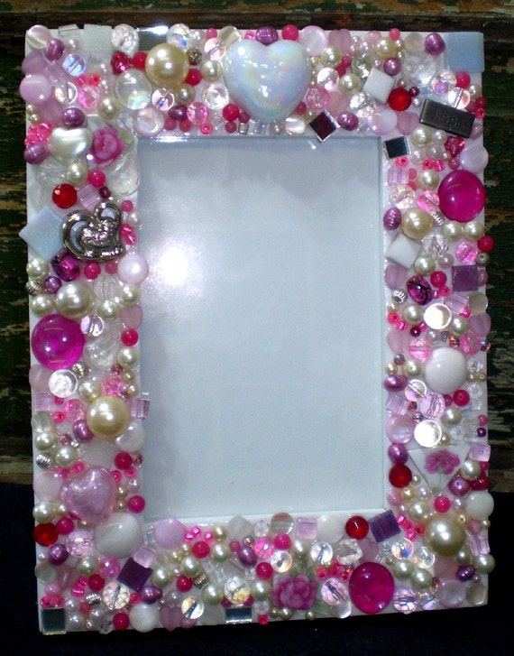 Mosaic Pink Jeweled Picture Frame Rhinestones By