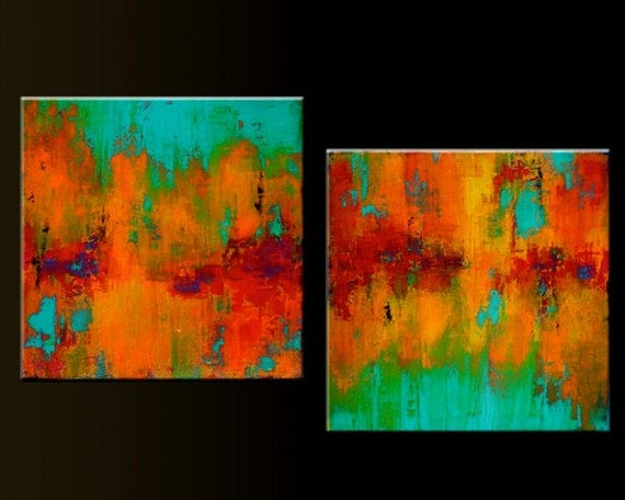 Carousel 2 - Set of 2- 20 x 20- Acrylic Abstract Paintings- Highly Textured