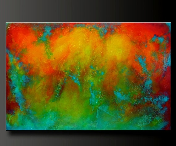 Reaction 3 - 36 x 24 - Abstract Acrylic Painting - Highly Textured
