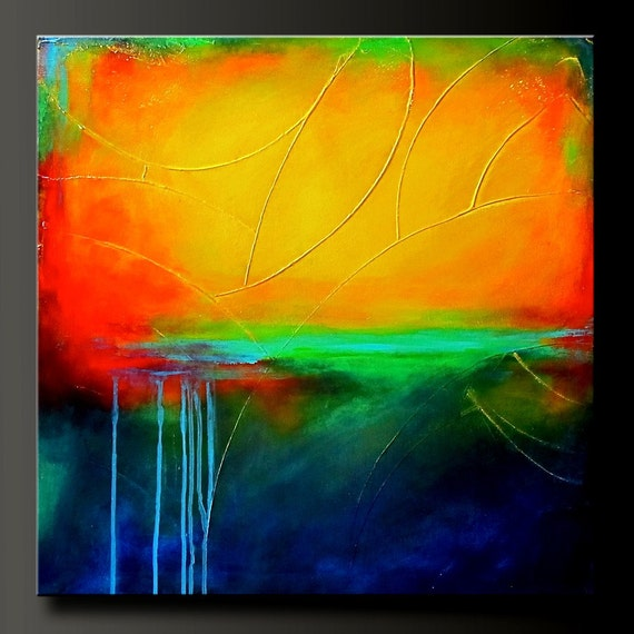 Primary Colors - 24 x 24 - Original Modern Acrylic Abstract Painting - Fine Art- Original Contemporary Wall Art
