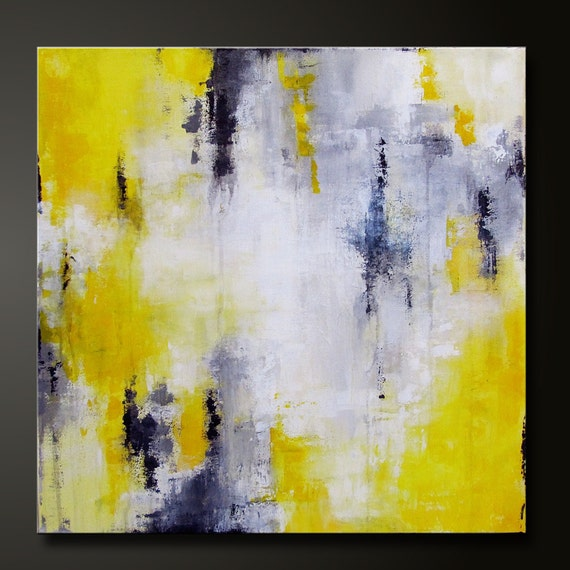 On Hold For Bianca - Abstract in Yellow 4 - 20 x 20 - Abstract Acrylic Painting - Highly Textured