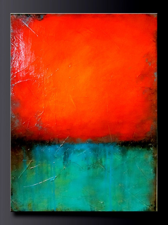 Turquoise Gem 16 X 20 Acrylic Abstract Painting Highly