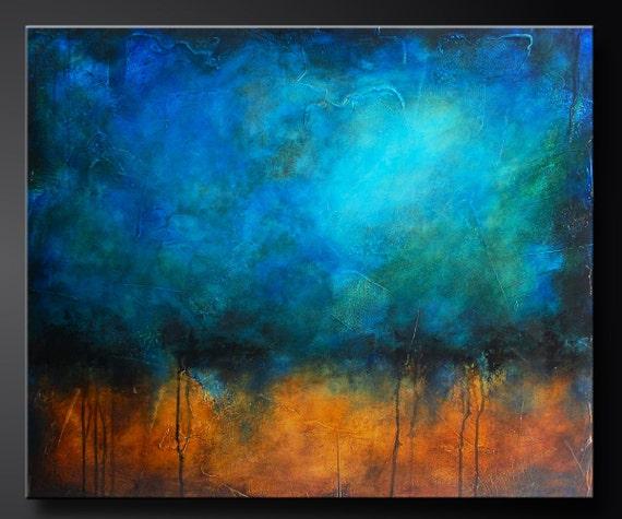 Caribbean Sea 30 X 36 Abstract Acrylic Painting Highly