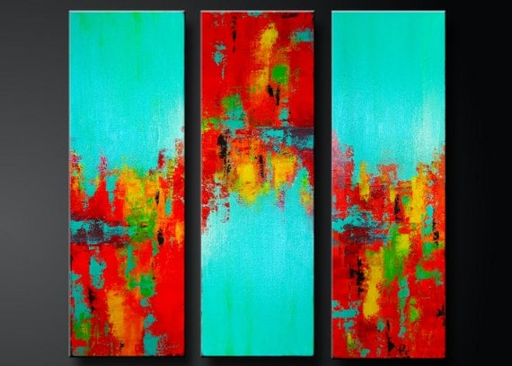 Carousel 11 -  Abstract Acrylic Painting on Canvas - Contemporary Fine Wall Art - Set of 3