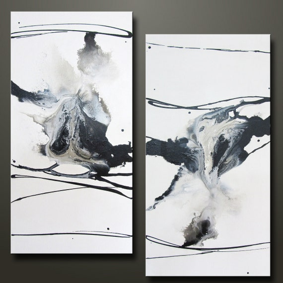 Perspective - Set of 2 -15 x 30 - Abstract Acrylic Paintings