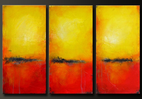 On Hold For Ivette - Solar - Set of 3 - 12 x 24 each- Abstract Acrylic Paintings - Triptych - Contemporary Wall Art