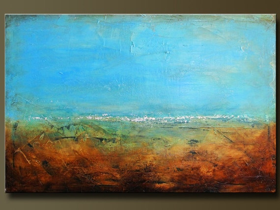 Lagoon - 24 x 36 - Acrylic Abstract Painting - Contemporary Wall Art - Textured