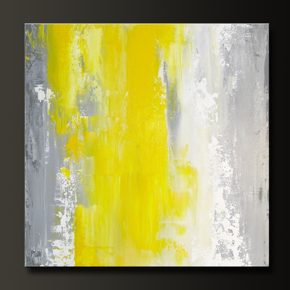 Spring Blossom - 16 x 16 - Abstract Acrylic Painting on Canvas - Contemporary Wall Art - Yellow Grey