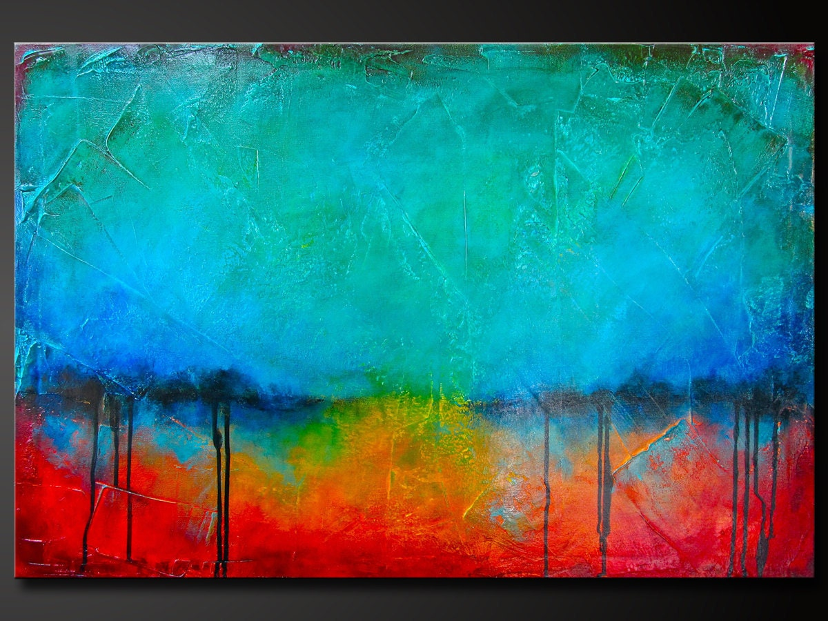 Oxidized Metal 10 Abstract Acrylic Painting On Canvas 36 X