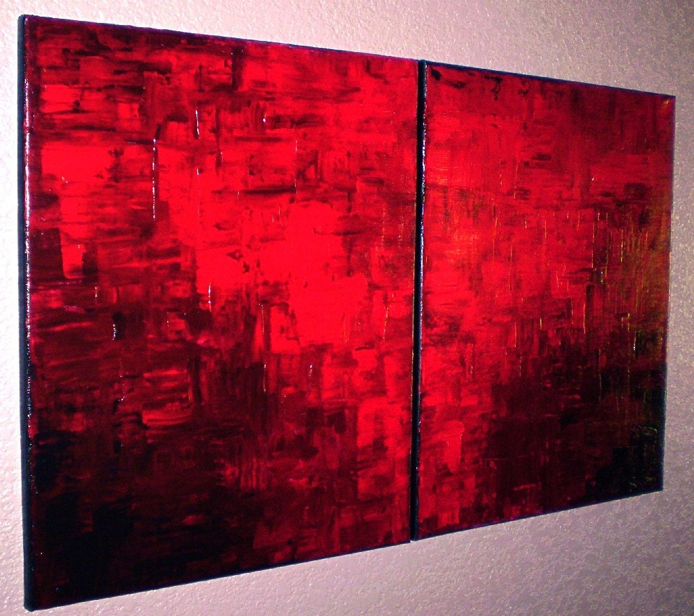 Crimson tide set of 2 16 x 20 original abstract acrylic for Plexiglas beistelltisch 3er set