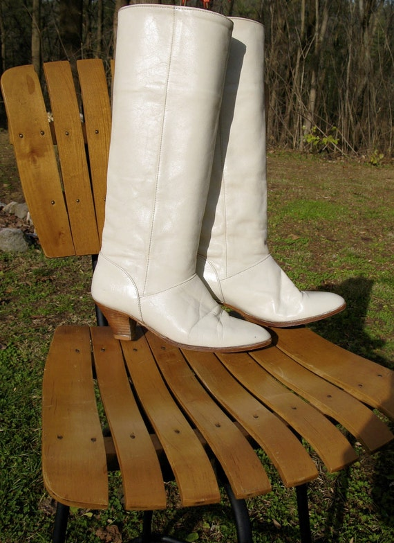 Vintage 80s FRYE Ivory White Tall Slouch Stacked Wooden Heel Boots Bride 7.5M