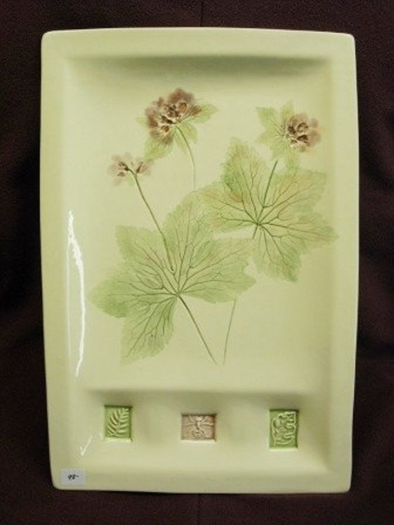 WILD GERANIUM wall hanging art & serving platter handmade real spring flowers one of a kind home decor sushi platter ceramic watercolor