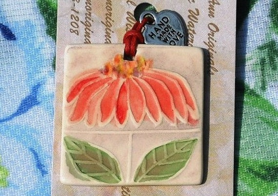 RUBY CONEFLOWER ceramic pendant, gift tag, sweet bag charm, small ornament, handmade thank you for nature garden lover