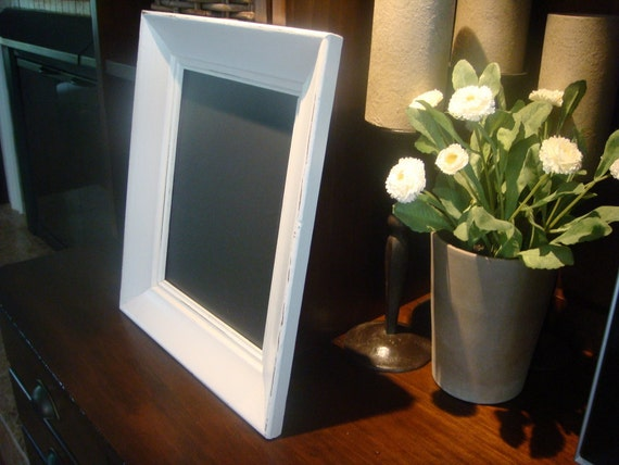 Chalkboard, Vintage White Frame (12 x 14 inches)