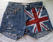 STUDDED Hand Painted Union Jack British Flag Jean Shorts One of a Kind Wearable Art Shorts Featured on Love it so much.com