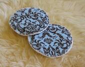 Organic Cotton Embellished Breast Pads - Mocha Fleur de Lis - ANNIVERSARY SALE