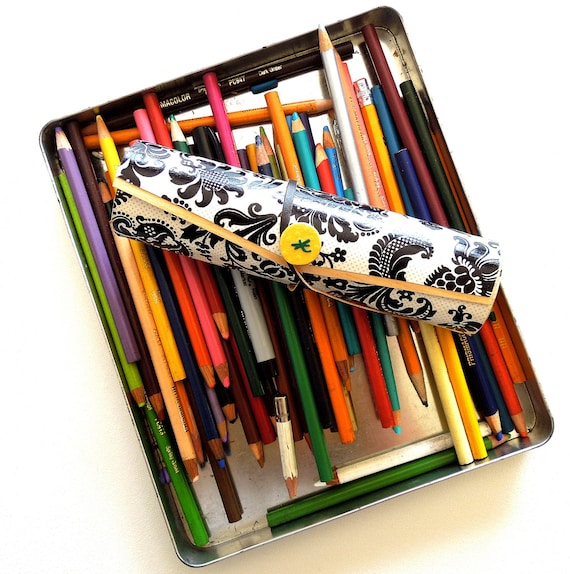 Pencil Case/ MakeUp/ Wooden Accessory Case/ Art Pencil Holder - Black and White