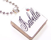 PERSONALIZED INITIAL OR NAME -ELEGANT WHITE- CUSTOM SCRABBLE PENDANT NECKLACE WITH SWAVORSKI ACCENTS