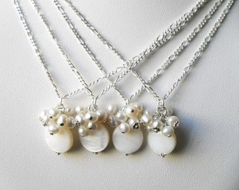 Bridesmaid Necklace Sets, White Pearl necklaces, Bridesmaids pearl jewelry,  Jewelry gifts for her, pearl pendants, Set of Four Necklaces