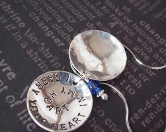 Personalized Something Blue Large BRIDAL LOCKET sterling silver hand stamped necklace