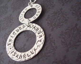 Hand Stamped Personalized DOUBLE RING Sterling Necklace for mom or  GRANDMA