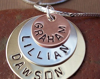 Hand Stamped Jewelry - Persoanlized Necklace - TRIPLE STACK necklace with Brass, Sterling, and Copper