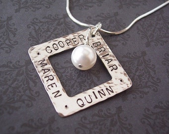 Custom Personalized SQUARE WASHER Hand Stamped Sterling Silver with Pearl