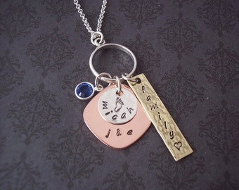 Exclusive ECLECTIC FAMILY Custom Sterling Silver, Copper and Brass personalized necklace