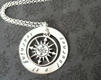 Hand Stamped Jewelry- Hand Stamped Necklace- Compass Charm- Journey Necklace- Teaching jewelry- Teachers- Learning jewelry- Journey jewelry