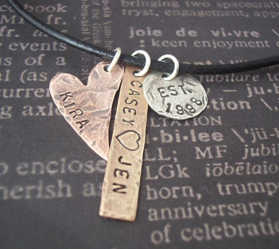 Hand Stamped necklace - Personalized hand stamped jewelry - WONDERFUL FAMILY Silver disc, Copper heart, and Brass tag