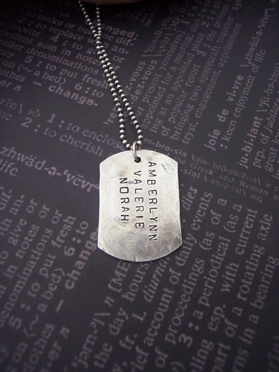 Hand Stamped DOUBLE SIDED DOGTAG Sterling Silver custom for Husband - Dad -Groomsmen- Grandpa-Military