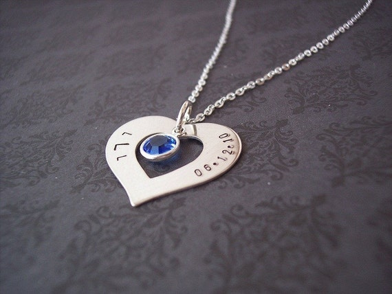 Hand stamped necklce - Personalized Jewelry -Sterling HEART washer with Stone/Pearl