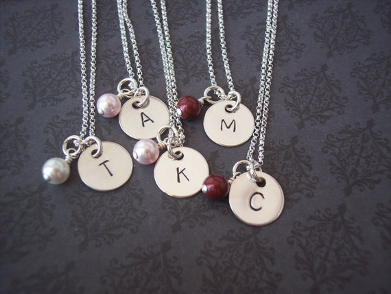 Hand Stamped Jewelry - Personalized Necklace SIMPLICITY sterling initial necklace  - BRIDESMAID, Flower Girls, teenager