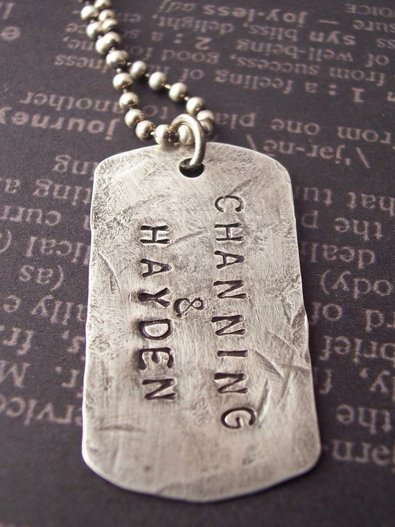 Hand Stamped DOGTAG style sterling necklace. Custom Personalized