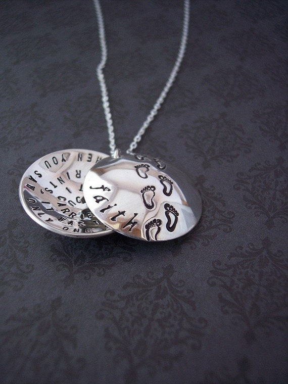 hand stamped pendant footprints in the sand sterling silver