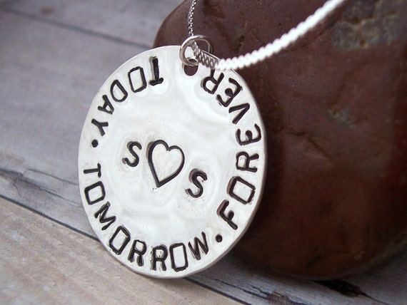 Hand Stamped Sterling FOREVER IN LOVE Necklace, perfect gift for a bride